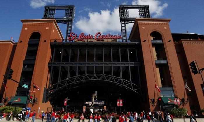 An exterior view of St. Louis Cardinals Busch Stadium, Missouri, on Oct. 10, 2009. (Martinez/Getty Images)