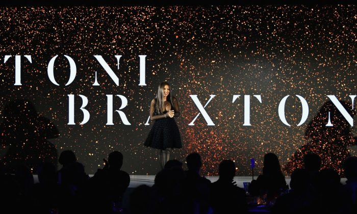 Toni Braxton speaking in New York on March 15, 2018. (Dia Dipasupil/Getty Images for A+E)