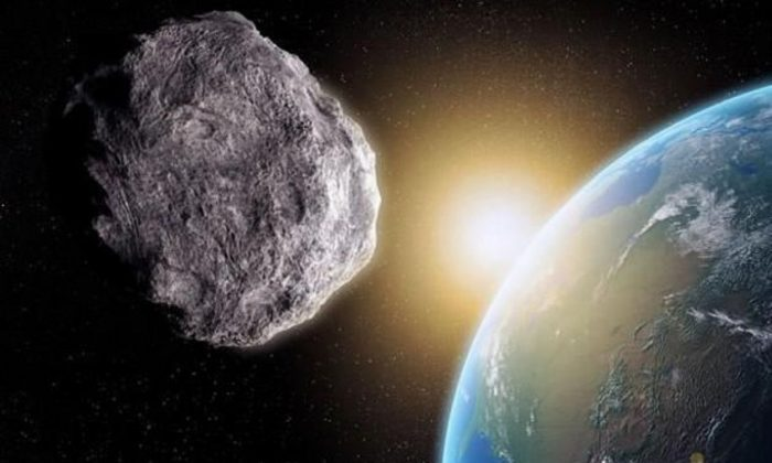 An artist's work shows an asteroid near Earth. (NASA)