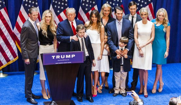 Eric Trump, Lara Yunaska Trump, Donald Trump, Barron Trump, Melania Trump, Vanessa Haydon Trump, Kai Madison Trump, Donald Trump Jr., Donald John Trump III, Jared Kushner, Ivanka Trump, and Tiffany Trump at Trump Tower in New York