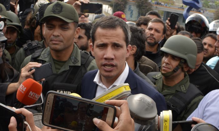 Juan Guaidó, recognized by Washington and 50 other nations as Venezuela's legitimate leader, talks to media outside the airforce base La Carlota on April 30, 2019 in Caracas, Venezuela. (Rafael Briceno/Getty Images)