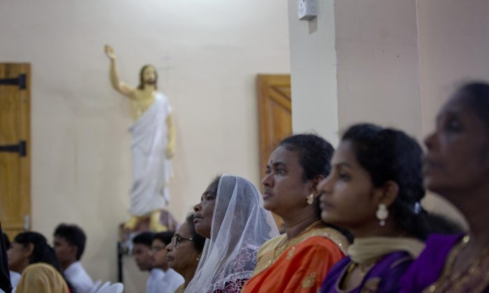 Catholics participate in Holy Mass at St. Joseph's church in Thannamunai, Sri Lanka on April 30, 2019. (Gemunu Amarasinghe/AP Photo)