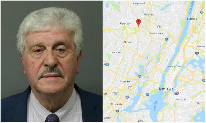 L: Frank Caramagna (Bergen County Prosecutor's Office); R: The location of Elmwood Park, N.J. (Screenshot via Google Maps)