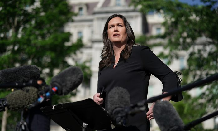 White House Press Secretary Sarah Huckabee Sanders talks to reporters after being interviewed on FOX News outside the White House April 29, 2019 in Washington. (Chip Somodevilla/Getty Images)
