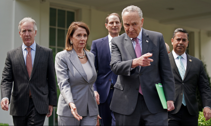 Congressional Democrats, including (L-R) House Ways and Means Committee Chairman Richard Neal (D-MA), Speaker of the House Nancy Pelosi (D-CA), Senate Finance Committee ranking member Sen. Ron Wyden (D-OR), Senate Minority Leader Charles Schumer (D-NY) and Rep. Ben Ray Lujan (D-NM), walk out of the White House before talking with reporters following a meeting with President Donald Trump on April 30, 2019 in Washington. (Chip Somodevilla/Getty Images)