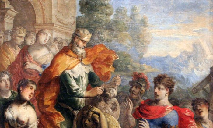 """""""Aeolus Giving the Winds to Odysseus,"""" by Isaac Moillon (1614–1673). Design for a tapestry. Musée de Tessé. (PD-US expired)"""