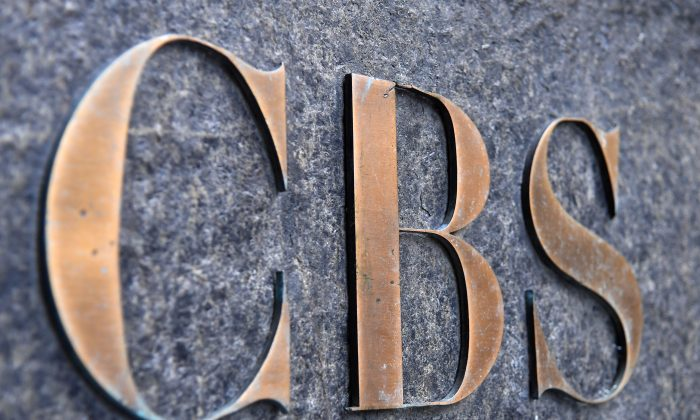 The CBS logo is seen at the CBS Building in New York City on Aug. 6, 2018. (Angela Weiss/AFP/Getty Images)