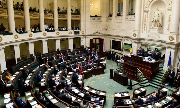 Belgian lawmakers attend a plenary session of the Chamber at the Federal Parliament in Brussels on April 4, 2019. (LAURIE DIEFFEMBACQ/AFP/Getty Images)