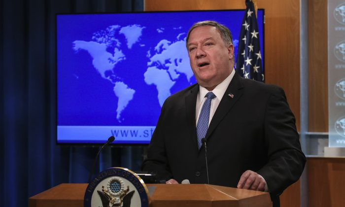 Secretary of State Mike Pompeo speaks about the Trump administration's Cuba policy during a press briefing at the U.S. Department of State, April 17, 2019, in Washington. (Drew Angerer/Getty Images)