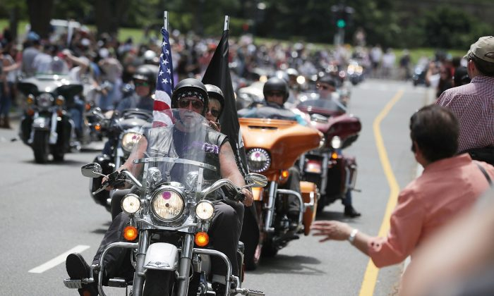 Bikers participate in the annual Rolling Thunder First Amendment Demonstration Run in Washington on May 29, 2016. (Alex Wong/Getty Images)
