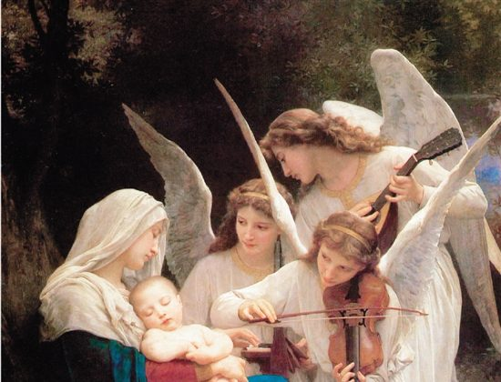 """A detail from """"The Virgin With Angels (Song of Angels),"""" 1881, by William Bouguereau. Oil, 84 inches by 60 inches. Forest Lawn Museum, California. (Public Domain)"""