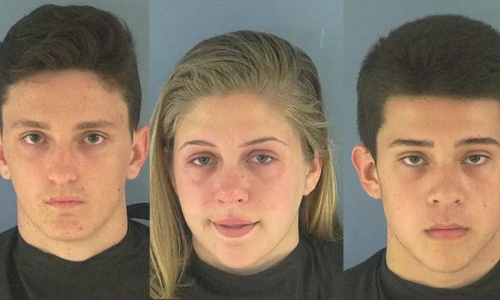 Molly Spearow, 16, Alex Armstrong, 17, Logan Pope, 17 were arrested on felony charges for spitting into deputies food. (Okeechobee County Sheriff's Office)