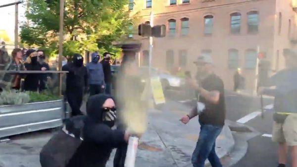 antifa pepper sprays people