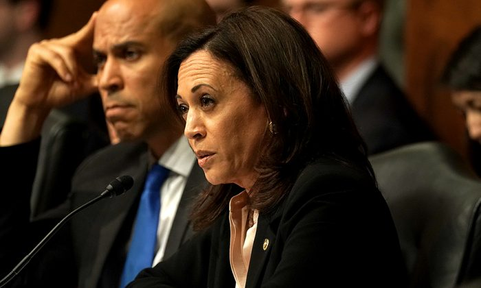 Sen. Kamala Harris (D-Calif.) questions US Attorney General William Barr as he testifies before the Senate Judiciary Committee on May 1. (Alex Wong/Getty Images)