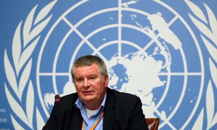 Mike Ryan, Executive Director of the World Health Organisation (WHO) attends a news conference on the Ebola outbreak in the Democratic Republic of Congo at the United Nations in Geneva, Switzerland on May 3, 2019. (Denis Balibouse/Reuters)