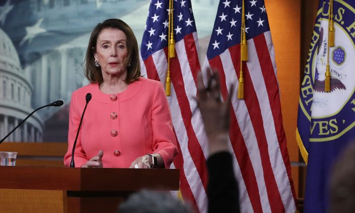 House Speaker Nancy Pelosi (D-Calif.) speaks during her weekly news conference on Capitol Hill, May 2, 2019, in Washington. (Mark Wilson/Getty Images)