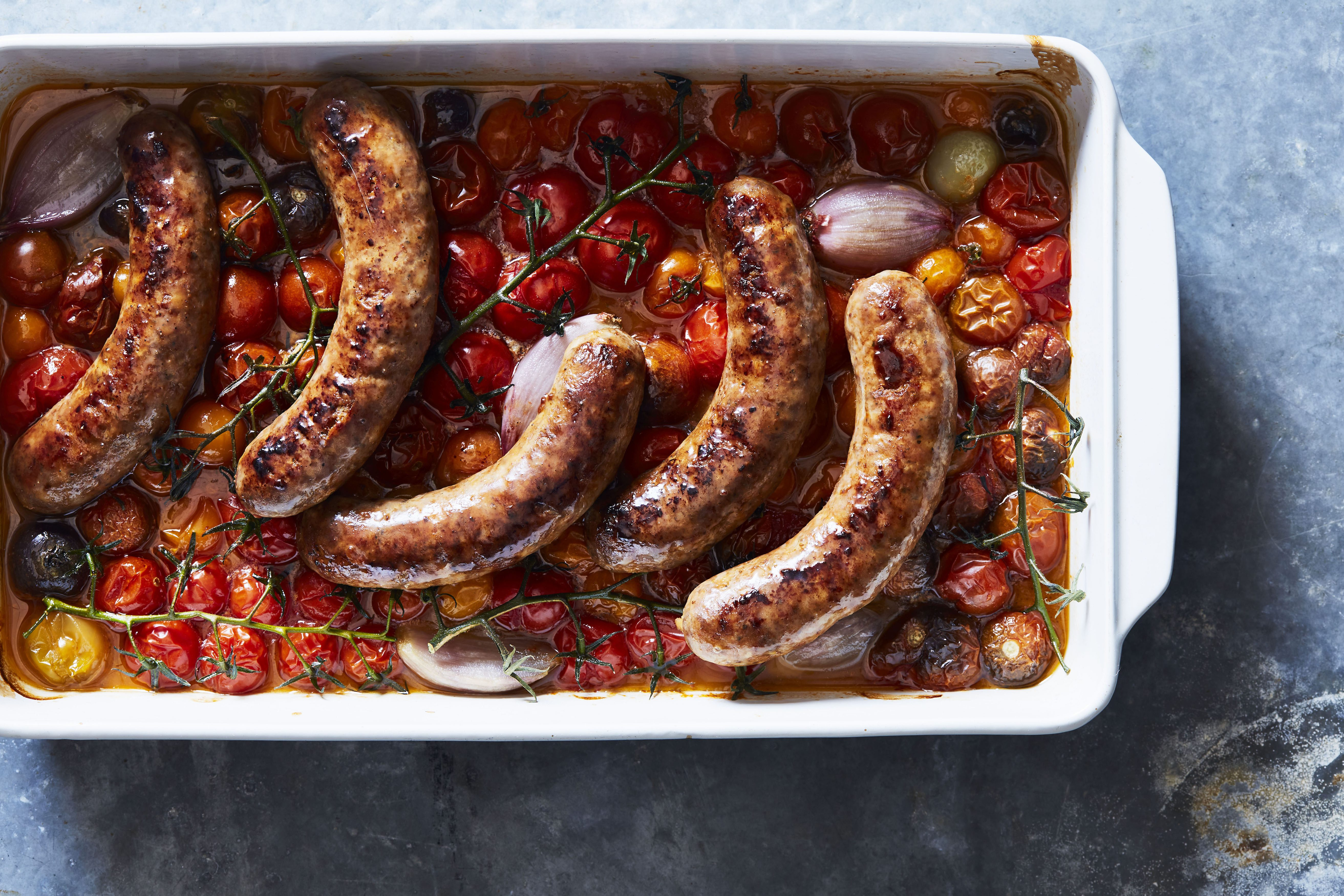 Seared Italian Sausages With Roasted Cherry Tomatoes and Shallots