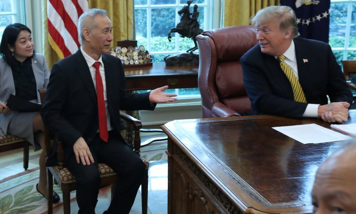 President Donald Trump listens while meeting with China's Vice Premier Liu He in the Oval Office of the White House in Washington, D.C. on April 4, 2019. (Jonathan Ernst/Reuters)
