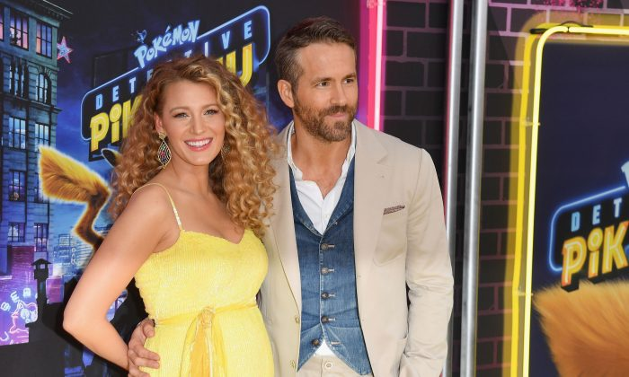 "Ryan Reynolds and Blake Lively attend the premiere of ""Pokemon Detective Pikachu"" at Military Island, Times Square in New York City, 