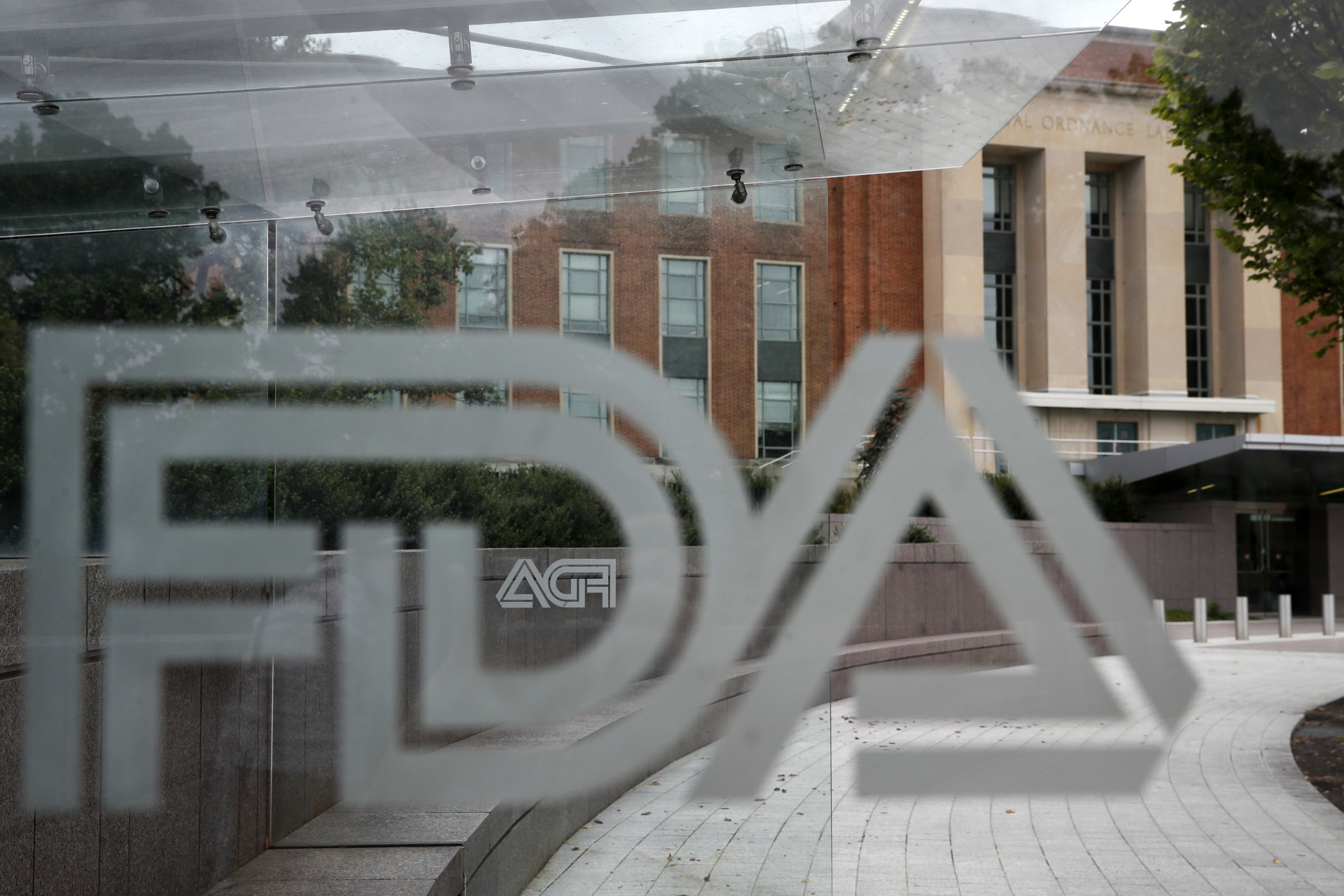 The U.S. Food and Drug Administration building behind FDA logos