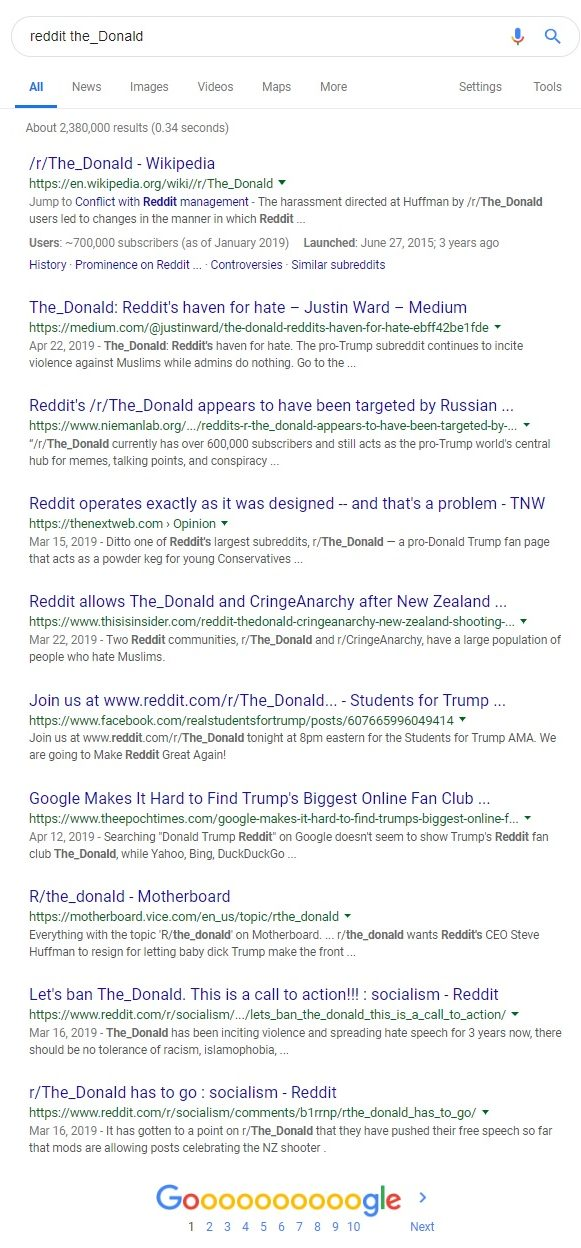 "The first page of Google search results for the words ""reddit The_Donald"""
