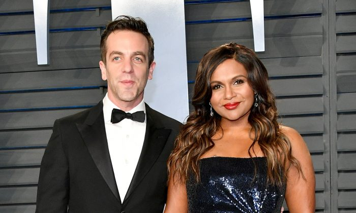 B.J. Novak (L) and Mindy Kaling attend the 2018 Vanity Fair Oscar Party, Beverly Hills, Calif., March 4, 2018. (Dia Dipasupil/Getty Images)