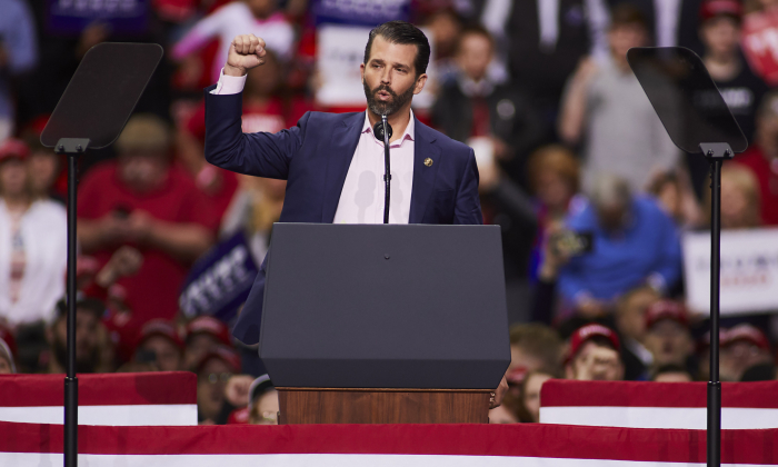 Donald Trump Jr. greets supporters of President Donald Trump before he speaks at a Make America Great Again rally in Green Bay, Wis., on April 27, 2019. (Darren Hauck/Getty Images)