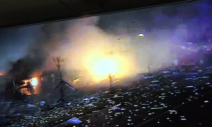 The moment of an explosion in the the suburb of Chicago is captured on camera. (Lake County Sheriff)