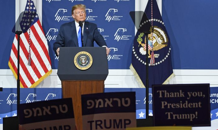 President Donald Trump speaks during the Republican Jewish Coalition's annual leadership meeting at The Venetian Las Vegas on April 6, 2019 in Las Vegas, Nevada. (Ethan Miller/Getty Images)