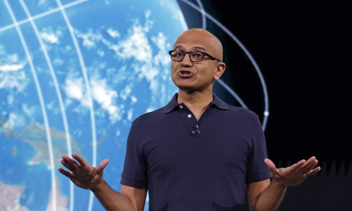 Microsoft CEO Satya Nadella speaks at the company's annual conference for software developers in Seattle on May 6, 2019. AP Photo/Elaine Thompson