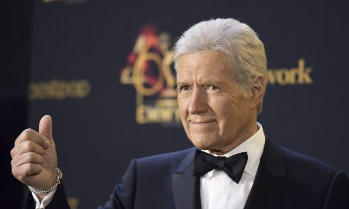 Alex Trebek poses in the press room at the 46th annual Daytime Emmy Awards at the Pasadena Civic Center in Pasadena, Calif., on May 5, 2019. (Richard Shotwell/Invision/AP)