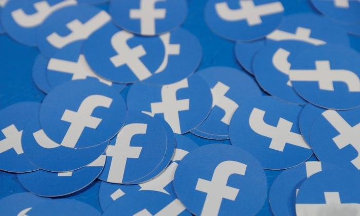 Stickers bearing the Facebook logo are pictured at Facebook Inc's F8 developers conference in San Jose, California, U.S. on April 30, 2019. (Stephen Lam/Reuters)