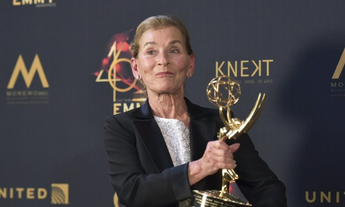 Lifetime achievement award winner Judge Judy Sheindlin poses in the press room at the 46th annual Daytime Emmy Awards at the Pasadena Civic Center in Pasadena, Calif., on May 5, 2019. (Richard Shotwell/Invision/AP)