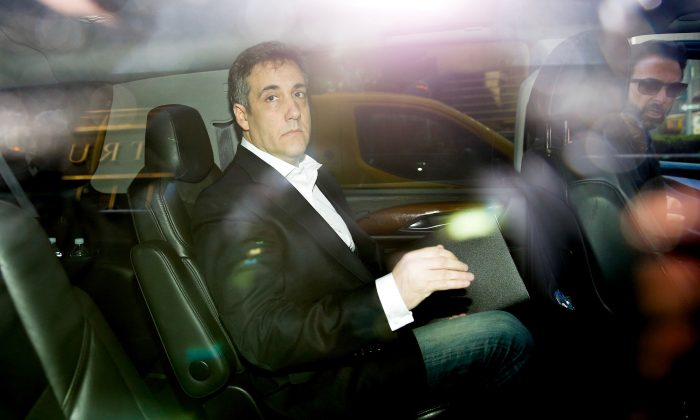 Michael Cohen is seen in his car as he leaves his apartment in New York City before heading to Otisville, N.Y., to serve a 3-year prison sentence on May 6, 2019. (EDUARDO MUNOZ ALVAREZ/AFP/Getty Images)