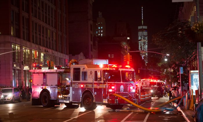 A fire truck on West 23rd Street, in New York on September 17, 2016. 