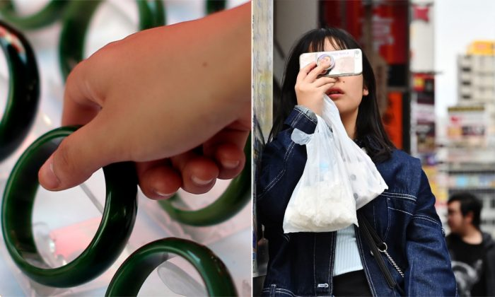 (L) Jade bracelets. (Lintao Zhang/Getty Images) | (R) Woman using a smartphone. (Charly Triballeau/AFP/Getty Images)