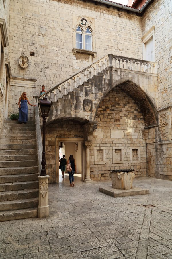 medieval courtyard in trogir croatia