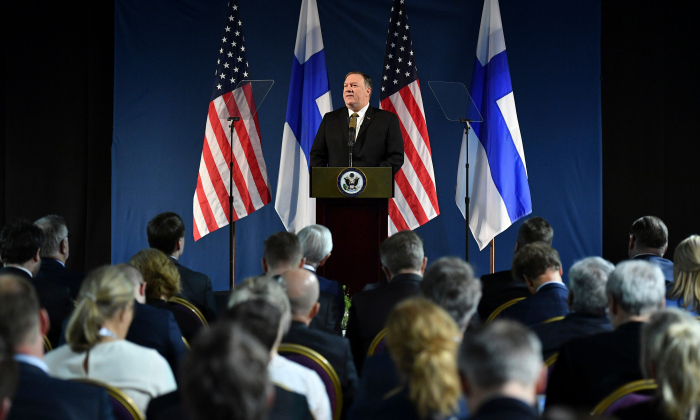 Secretary of State Mike Pompeo speaks on Arctic policy at the Lappi Areena in Rovaniemi, Finland on May 6, 2019. (Mandel Ngan/AFP/Getty Images)