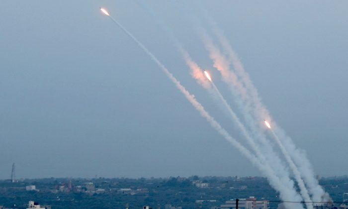Rockets are fired from Gaza toward Israel on May 5, 2019. (Reuters/Mohammed Salem)