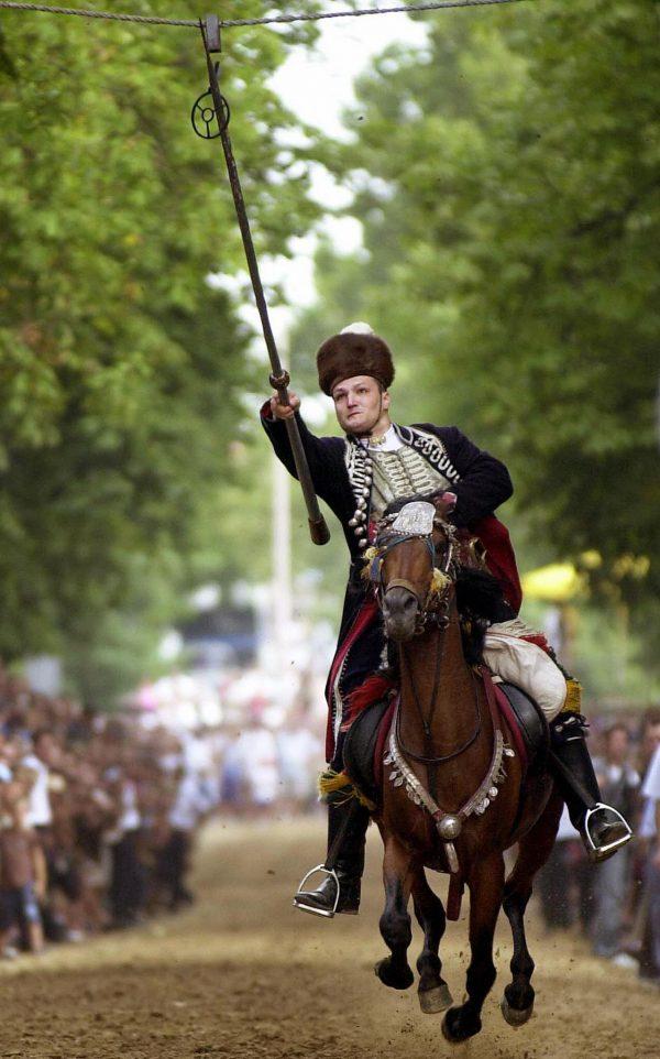 Croatian knight Mladen Vuckovic jousts f