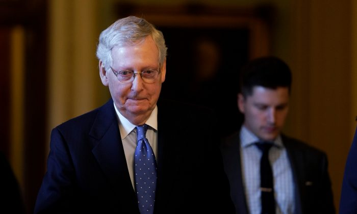 Senate Majority Leader Mitch McConnell walks off the Senate floor after making comments about Special Counsel Robert Mueller's report on the 2016 election on Capitol Hill in Washington on May 7, 2019. (Aaron P. Bernstein/Reuters)