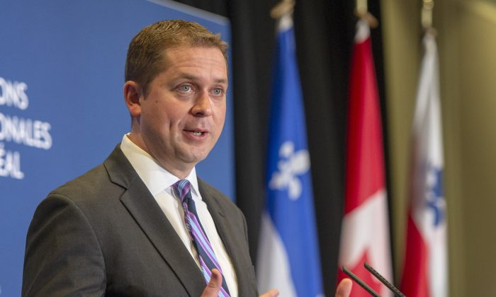 Conservative Leader Andrew Scheer addresses the Montreal Council on Foreign Relations in Montreal on May 7, 2019. (The Canadian Press/Ryan Remiorz)