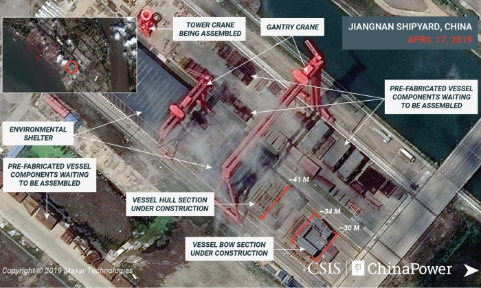 A satellite image shows what appears to be the construction of a third Chinese aircraft carrier at the Jiangnan Shipyard in Shanghai, China on April 17, 2019. (CSIS/ChinaPower/Maxar Technologies 2019/Handout via Reuters)
