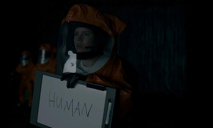 """In the film """"Arrival,"""" a linguist (Amy Adams) tries to communicate with aliens. (Jan Thijs/Paramount Pictures)"""