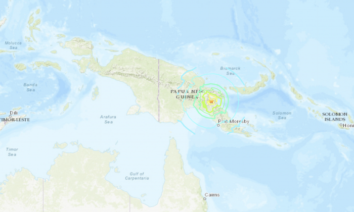 A 7.2-magnitude earthquake hit Papua New Guinea at around 7:20 a.m. local time, at a depth of 129.6 kilometers on May 7, 2019. (USGS)