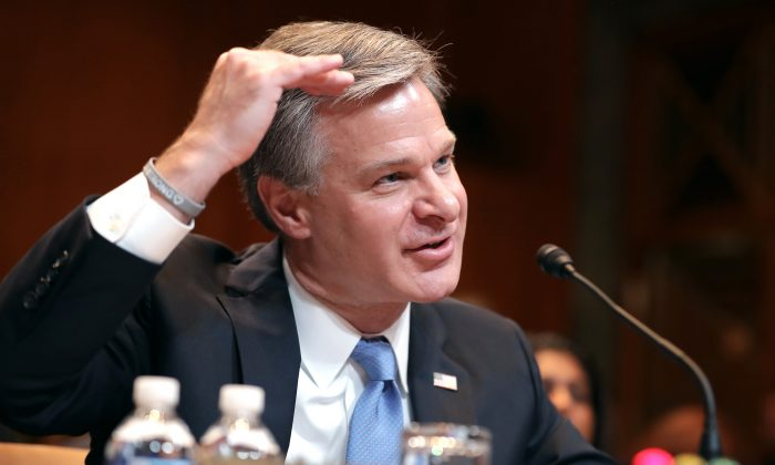 Federal Bureau of Investigation Director Christopher Wray testifies before the Senate Appropriations Committee on May 07, 2019. (Chip Somodevilla/Getty Images)