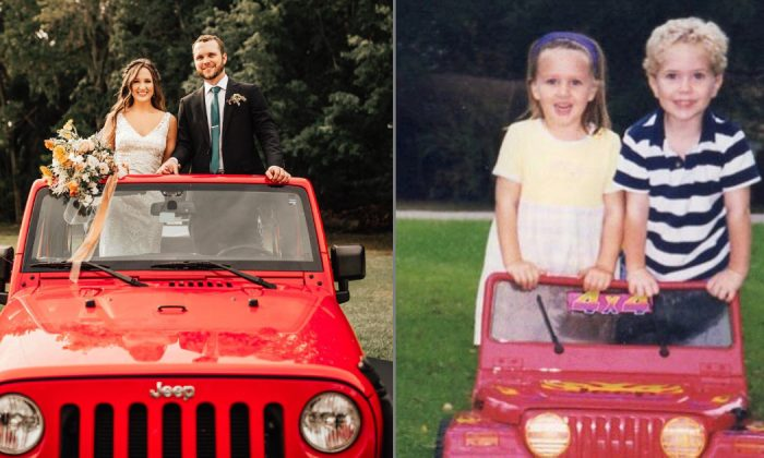 Newlyweds Natalie Crowe and Austin Tatman recreate a childhood memory at their wedding in New Smyrna Beach, Fla., on April 13, 2019 (L) and the same couple in a toy Jeep back in 1999 (R). (Austin Tatman/Facebook)