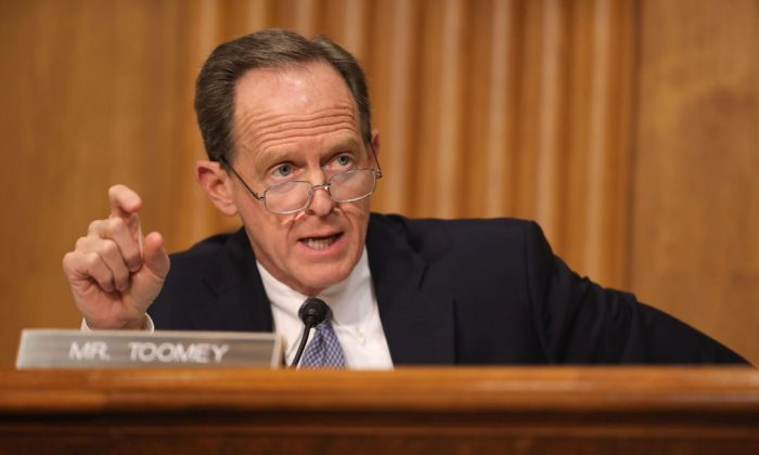 Senate Finance Committee member Sen. Pat Toomey (R-Pa.) during a hearing in the Dirksen Senate Office Building on Capitol Hill, on April 10, 2019. (Chip Somodevilla/Getty Images)