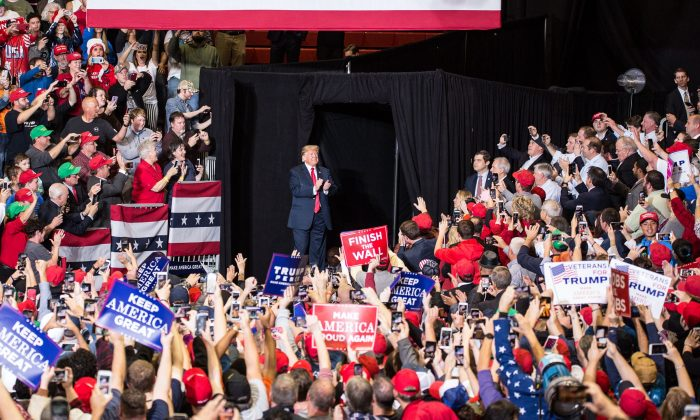 President Donald Trump at a Make America Great Again rally in Cape Girardeau, Mo., on Nov. 5, 2018. (Hu Chen/The Epoch Times)