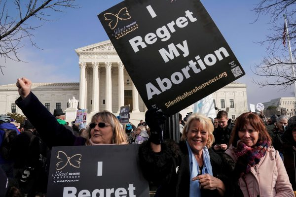 Anti-abortion marchers rally at the Supreme Court